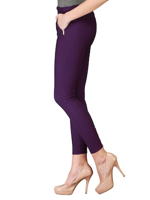 flat front side zipper jeggings - 15341012 - Standard Image - 2