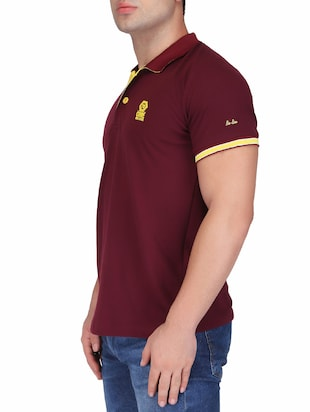 maroon cotton polo t-shirt - 15341473 - Standard Image - 2