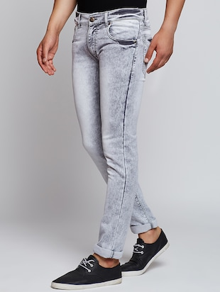 grey cotton washed jeans - 15341774 - Standard Image - 2