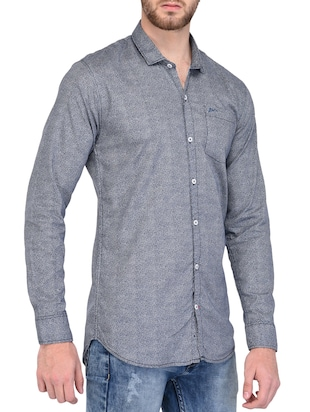 blue cotton casual shirt - 15341799 - Standard Image - 2