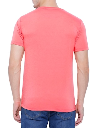 pink cotton chest print t-shirt - 15342110 - Standard Image - 2