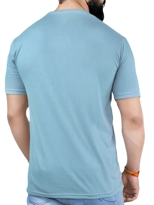 blue cotton blend chest print t-shirt - 15342121 - Standard Image - 2