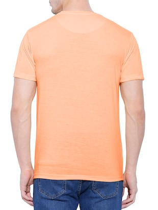 orange cotton blend chest print tshirt - 15342207 - Standard Image - 2