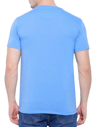 blue cotton blend chest print tshirt - 15342219 - Standard Image - 2