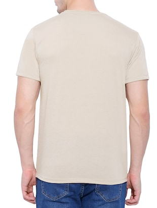 beige cotton blend chest print t-shirt - 15342223 - Standard Image - 2