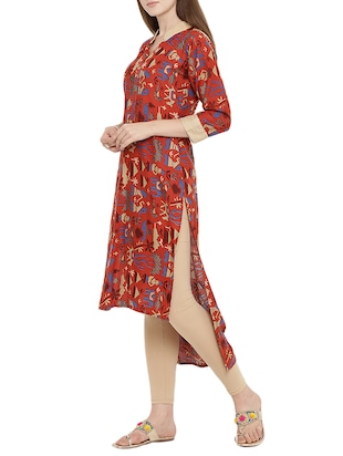 red rayon highlow kurta - 15342496 - Standard Image - 2
