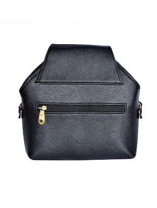 black leatherette (pu) regular sling bag - 15343557 - Standard Image - 2