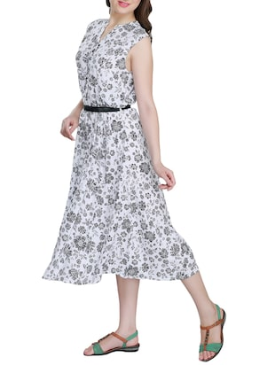 floral belted dress - 15343625 - Standard Image - 2