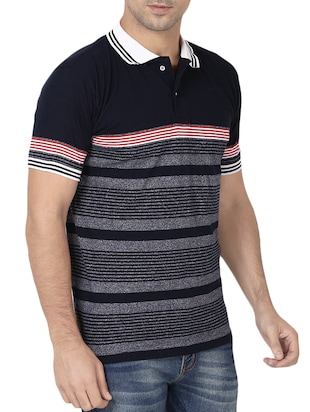 navy blue cotton polo t-shirt - 15344573 - Standard Image - 2