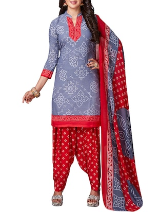 multi colored unstitched combo suit - 15344607 - Standard Image - 2