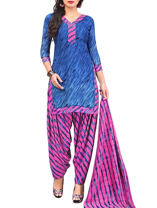 multi colored unstitched combo suit - 15345061 - Standard Image - 2