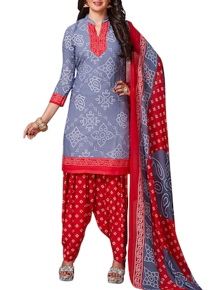 multi colored unstitched combo suit - 15345067 - Standard Image - 2