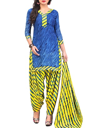 multi colored unstitched combo suit - 15345081 - Standard Image - 2
