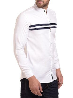 white cotton blend casual shirt - 15345509 - Standard Image - 2