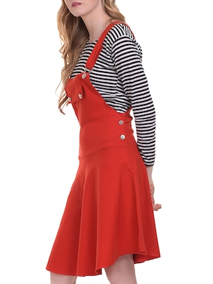 flared patch pocket dungaree dress - 15345553 - Standard Image - 2