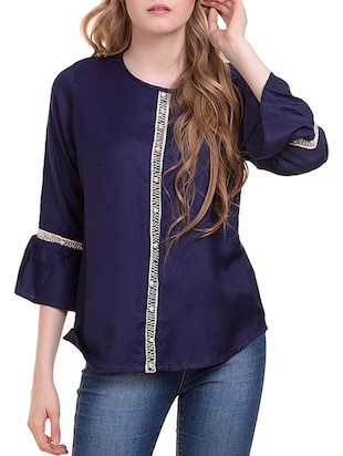 Lace trim flute sleeved top - 15345593 - Standard Image - 2