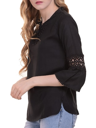 Lace trim flute sleeved top - 15345598 - Standard Image - 2