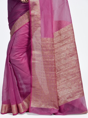 contrast zari border handloom saree with blouse - 15345650 - Standard Image - 2