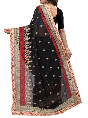 resham & zari embroidery work saree with blouse - 15345830 - Standard Image - 2