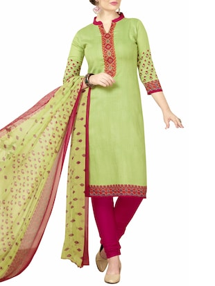 Printed unstitched churidaar suit - 15345883 - Standard Image - 2