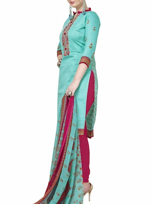Embroidered unstitched churidaar suit - 15345885 - Standard Image - 2