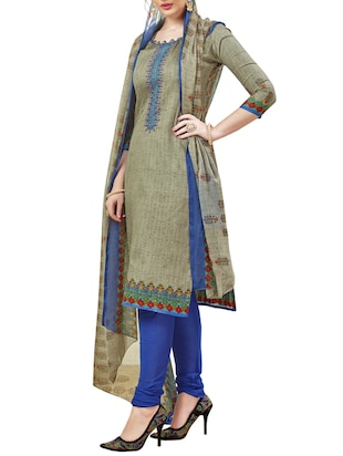 Embroidered unstitched churidaar suit - 15345893 - Standard Image - 2