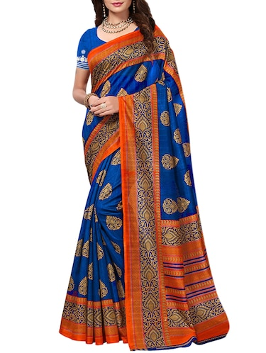 Contrast bordered bhagalpuri saree with blouse - 15346713 - Standard Image - 1
