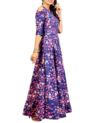 blue silk flared gown - 15346873 - Standard Image - 2