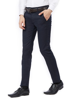 blue cotton flat front formal trouser - 15347298 - Standard Image - 2
