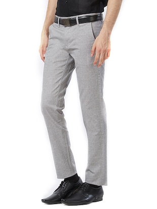grey cotton flat front formal trouser - 15347303 - Standard Image - 2