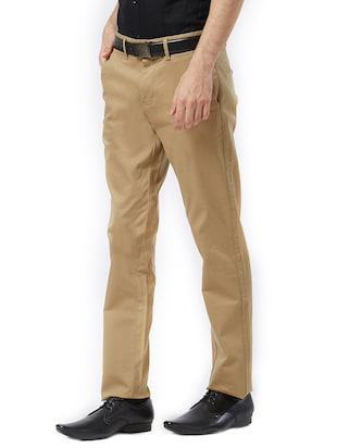 brown cotton flat front casual trouser - 15347327 - Standard Image - 2