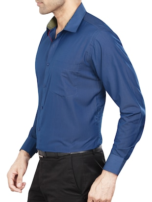 blue polyester blend formal shirt - 15348002 - Standard Image - 2