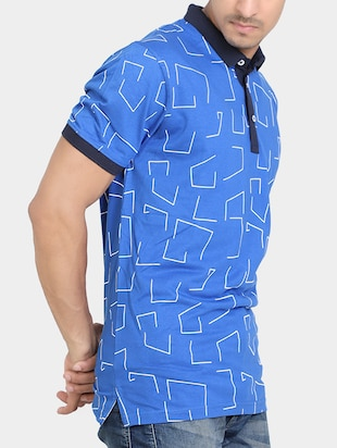 blue cotton all over print  t-shirt - 15348152 - Standard Image - 2