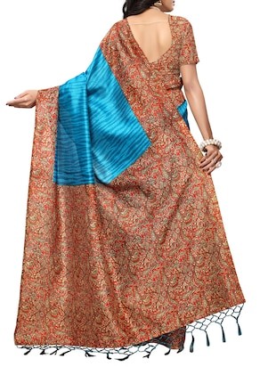 Contrast bordered mysore silk saree with blouse - 15348518 - Standard Image - 2