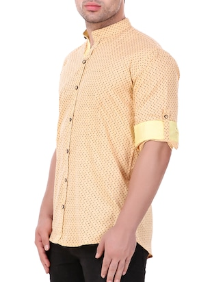 yellow cotton casual shirt - 15349191 - Standard Image - 2