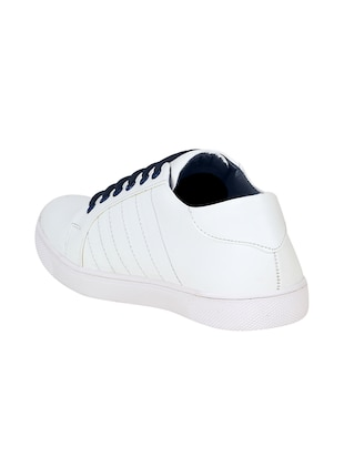white leatherette lace up sneaker - 15350351 - Standard Image - 2