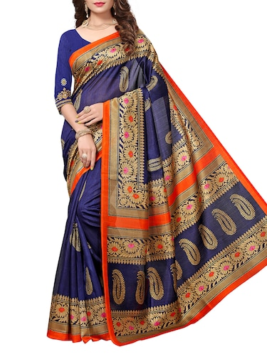 Paisley Printed saree with blouse - 15354245 - Standard Image - 1