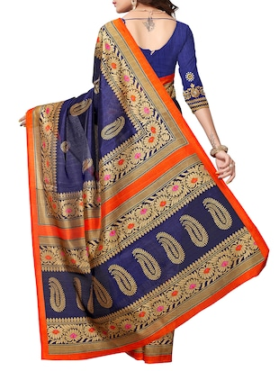 Paisley Printed saree with blouse - 15354245 - Standard Image - 2