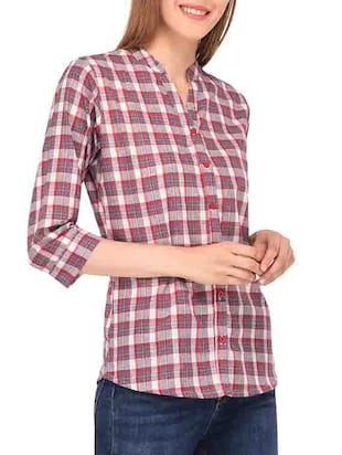 mandarin collar checkered shirt - 15363894 - Standard Image - 2