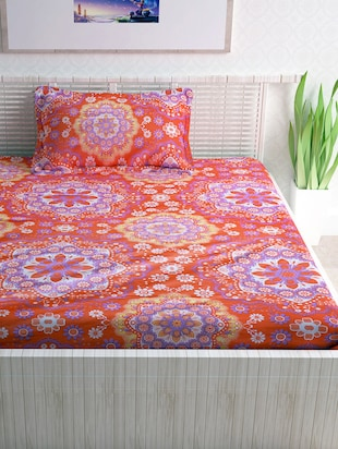 100% Cotton 120TC Single Bedsheet With 1 Pillow Cover - 15365830 - Standard Image - 2