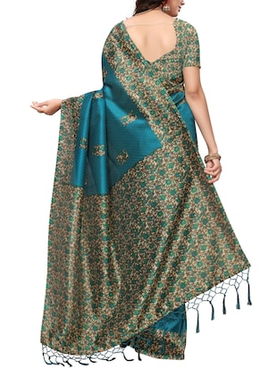 Contrast bordered Mysore Silk saree with blouse - 15371954 - Standard Image - 2