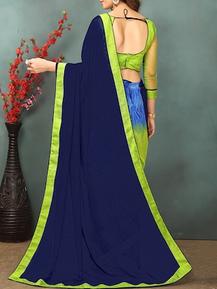 Contrast bordered half and half saree with blouse - 15379308 - Standard Image - 2