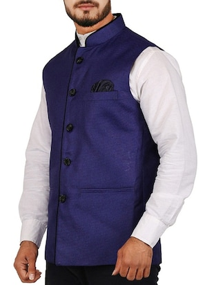 blue cotton blend nehru jacket - 15385843 - Standard Image - 2
