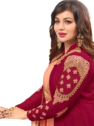 Embroidered semi-stitched layered suit - 15388338 - Standard Image - 2