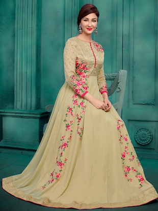 Embroidered semi-stitched anarkali suit - 15388365 - Standard Image - 2