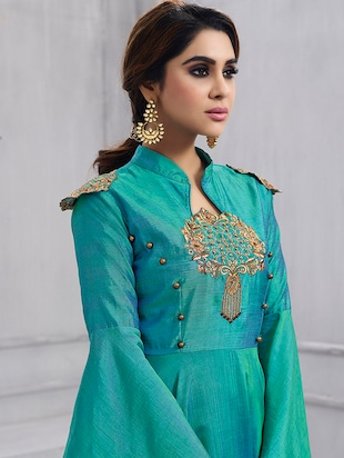 Embroidered semi-stitched flared suit - 15388371 - Standard Image - 2