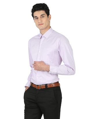 purple cotton blend formal shirt - 15389913 - Standard Image - 2