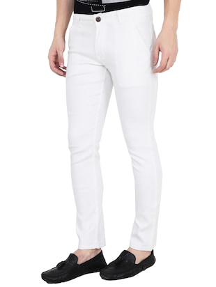 white cotton blend plain jeans - 15390765 - Standard Image - 2