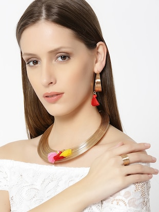 Gold Tone Necklace, Ring & Earrings Set - 15399013 - Standard Image - 5