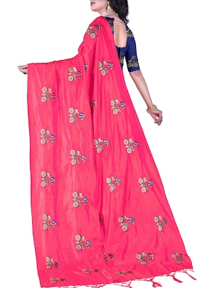 conversational embroidered saree with tassels with blouse - 15400038 - Standard Image - 2